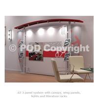 d2 Triple Panel Display Stand with Canopy