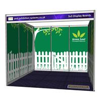 3x3 Stand with Display Boards - Open on 1 side