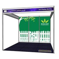 3x3 Stand with Display Boards - Open on 3 sides
