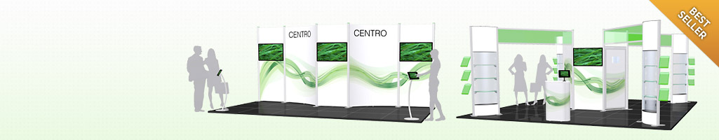 Centro Configurations to creat backwalls, showcases, shelving, counters and 3 meter high impact!