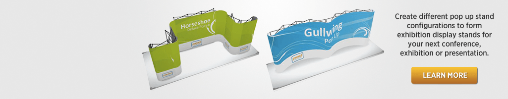 CONFIGURATIONS   ---   Create stand designs by linking  standard popup stand sizes for your next Conference, Exhibition or Presentation.